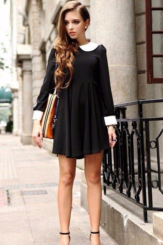 Vestido negro cuello camisero blanco