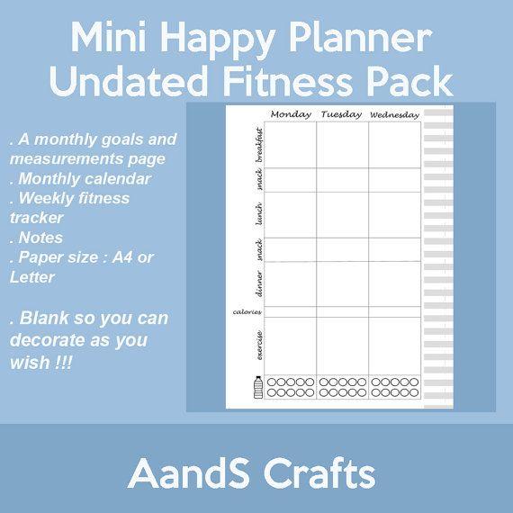 Happy Planner Calendar Refills : Mini happy planner fitness undated insert