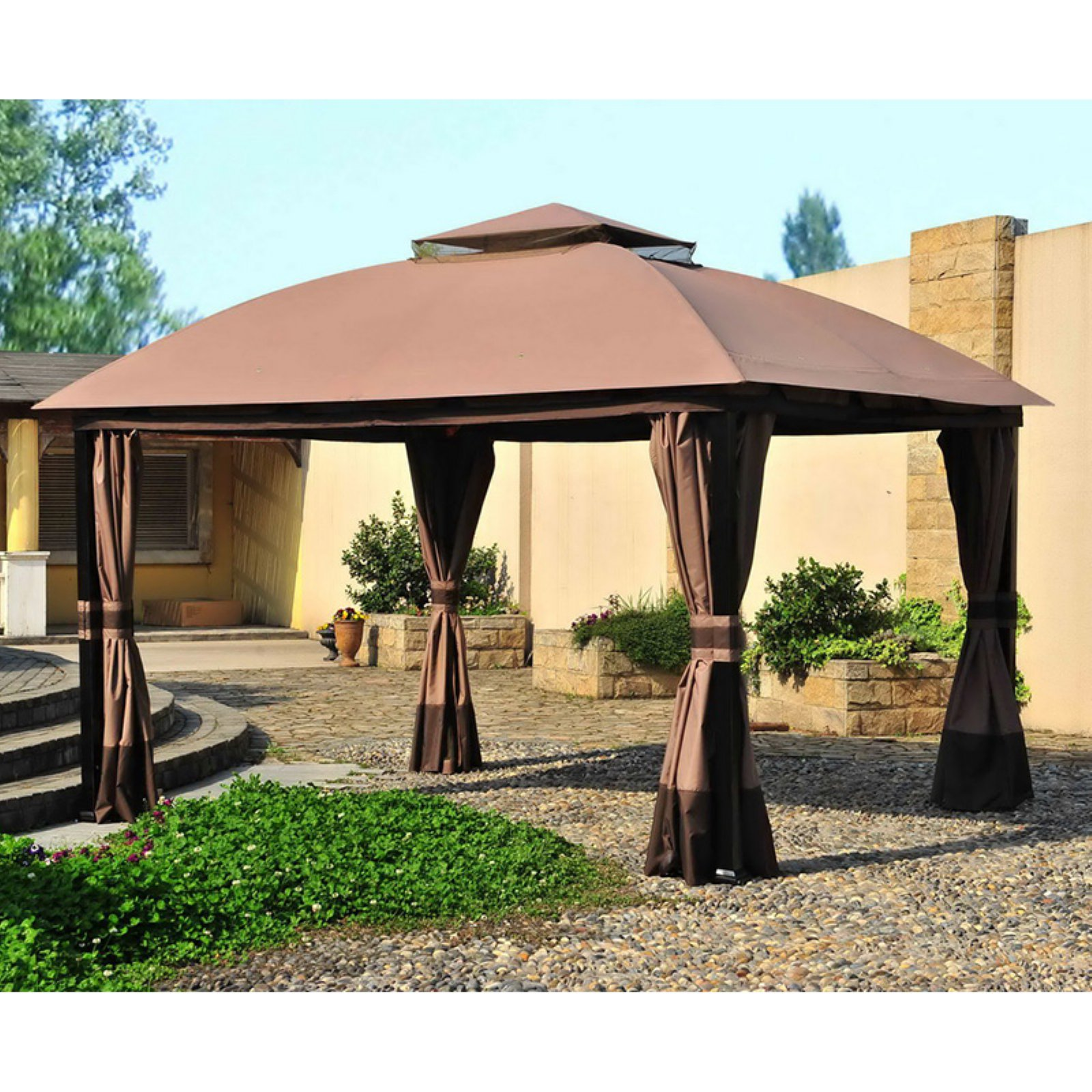 Sunjoy 11 X 13 Ft Replacement Canopy Cover For L Gz215pst A Deluxe South Hampton Gazebo Ginger Snap Dark Brown Replacement Canopy Gazebo Outdoor Gazebos