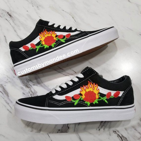 c7dd93da72 Flame Rose Custom Embroidered-Patch Vans Old-Skool Sneakers in 2019 ...