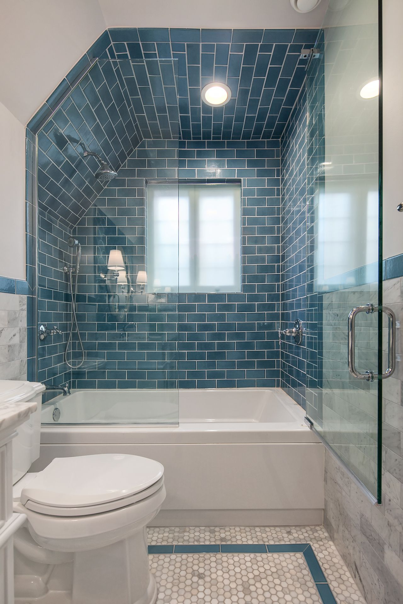 Bath Alcove Inspiration No Shower Glass Just Bath Window Moves To Exterior Knee Wall In 2020 Blue Bathroom Tile Stylish Bathroom Bathroom Tile Designs