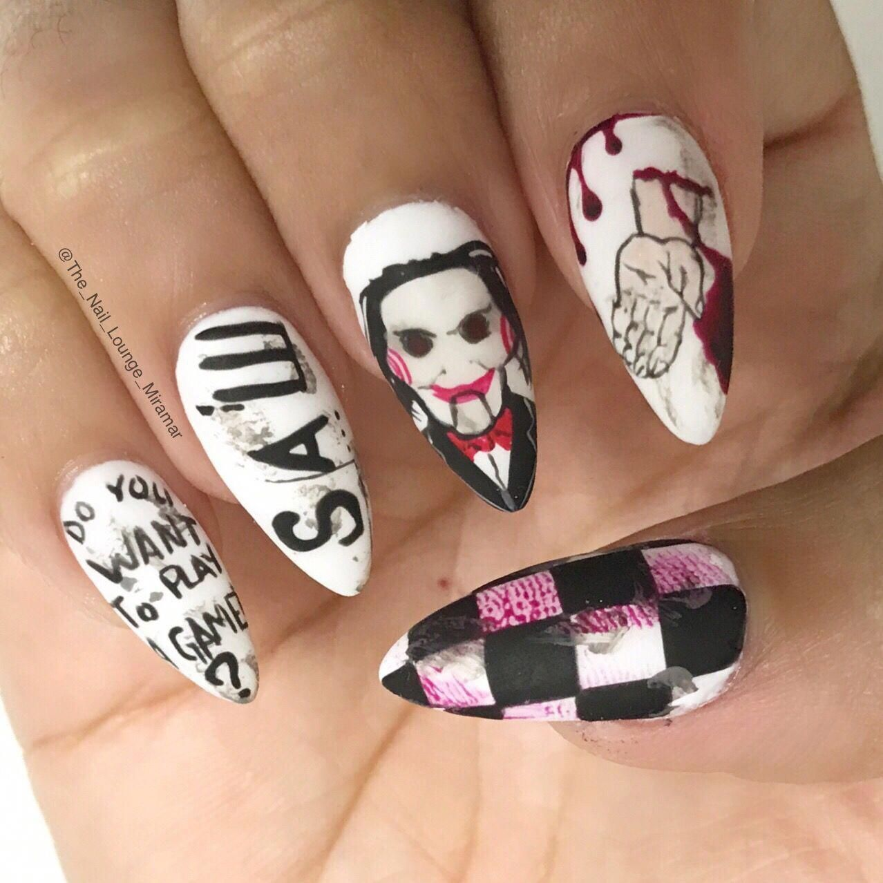 Halloween spooky saw movie nail art design #spookynails in ...