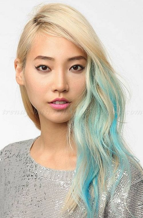 Long Blonde Hair With Blue Hair Chalk Long Blonde Hair Hair