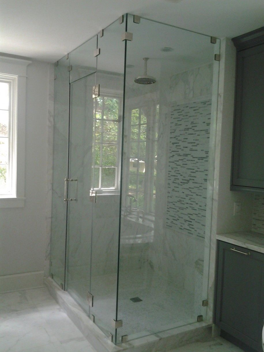 awesome glass shower stall kits with silver handle and mosaic tile ...