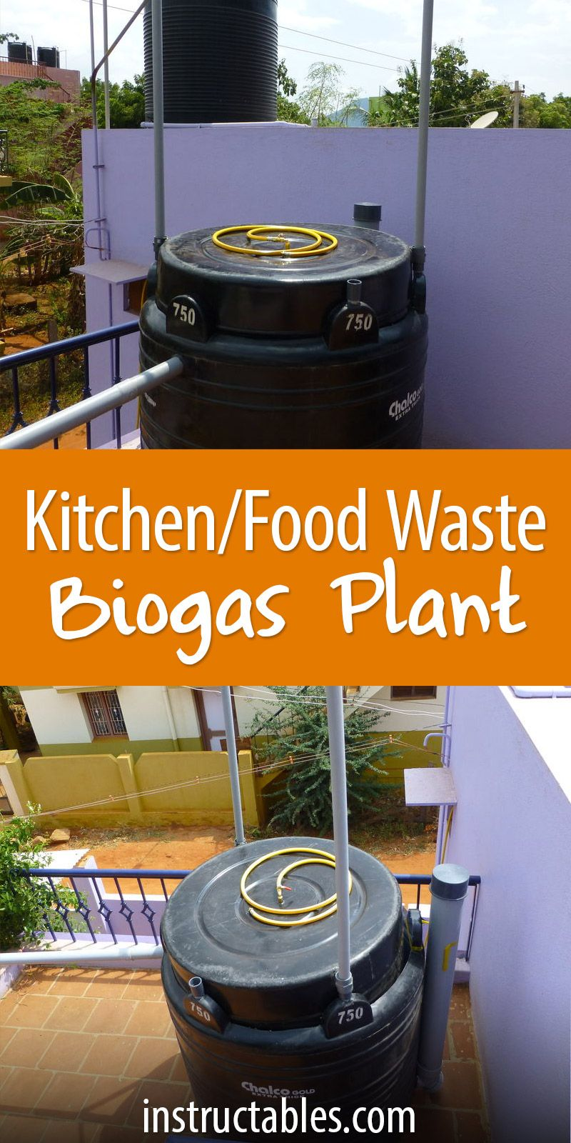 How To Build A Medium Sized Biogas Plant Composting Pinterest Large Design Gobar Gas Diagram Turn Kitchen Waste Compost Into In 750 Liter Tank