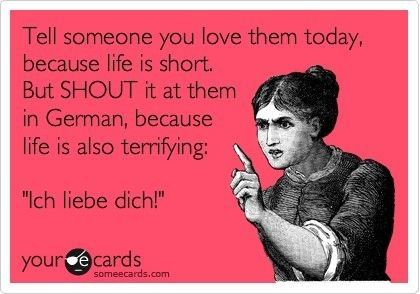 Made Me Lol Yell I Love You In German Funny Quotes Ecards Funny Psycho Ex
