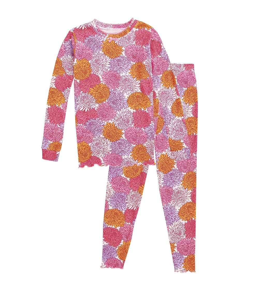Cotton Ruffle Long Pajamas - Flower