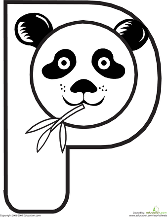 Color The Panda Letter P Education Com Animal Alphabet Tierbuchstaben Basteln Mit Buchstaben