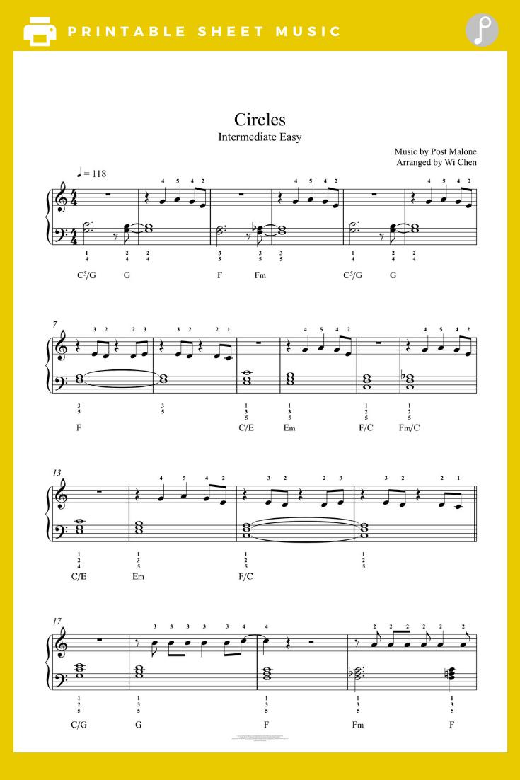 Circles by Post Malone Piano Sheet Music Intermediate