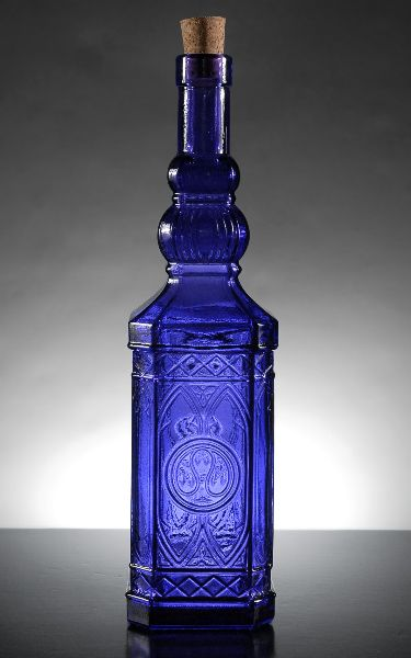 11 3//4 Tall Cobalt Blue Decorative Ornate Recycled Glass Bottle 23.7oz