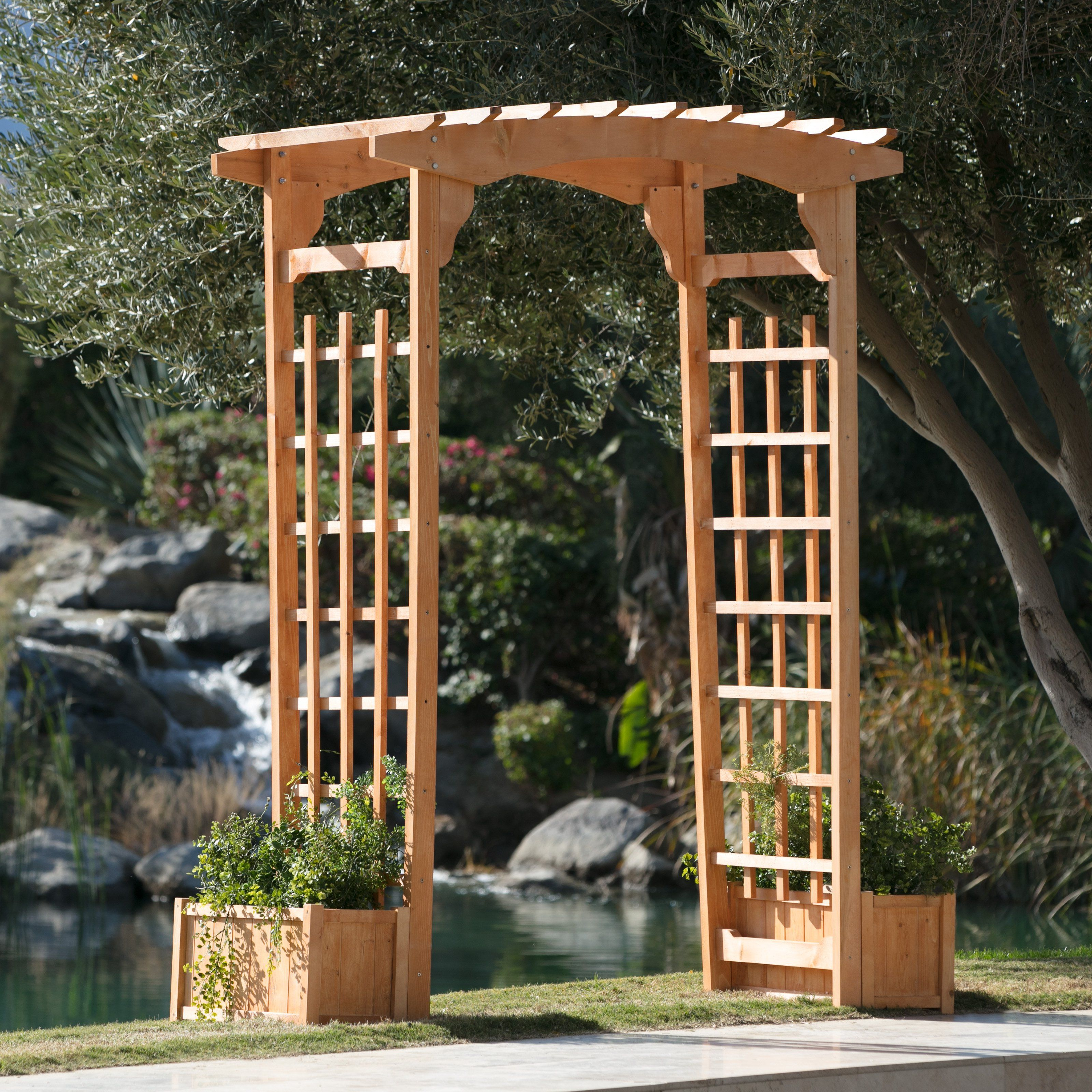 Belham Living Sullivan 7-ft. Wood Arbor with Free Planters | from ...