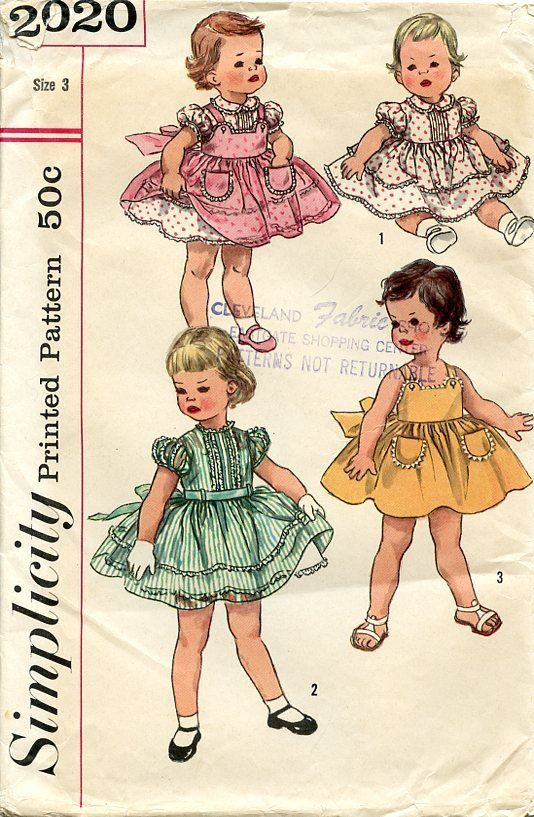 Vintage 1957 Girl's Party Dress Full Skirt Simplicity Pattern 2020 Size 3