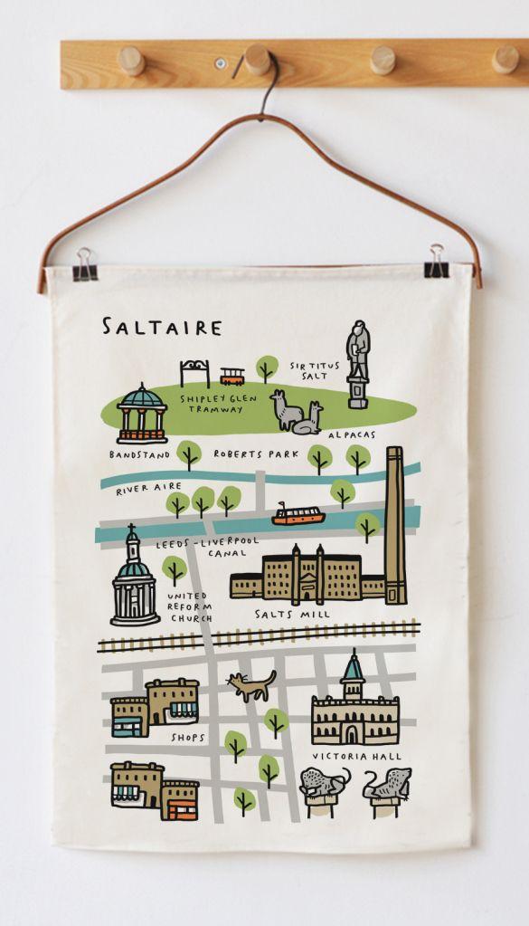 tea towel Saltaire Map mock up