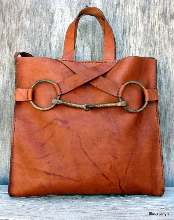 1678f47cc1 Equestrian Horse Bit Tote Bag in Rugged Distressed Brown Leather by ...