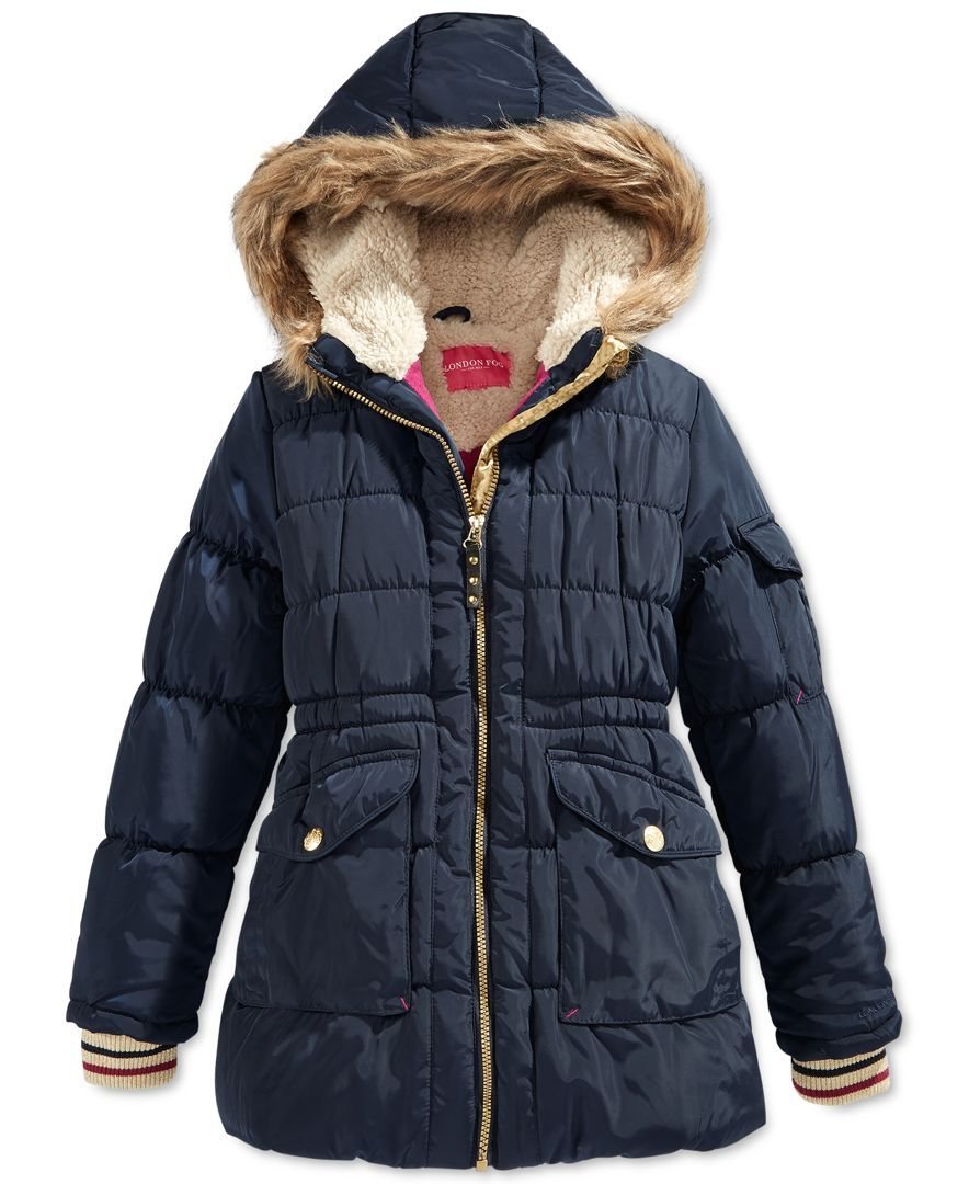 London Fog Girls' Stadium Puffer Coat with Faux Fur Trim - Girls 7 ...