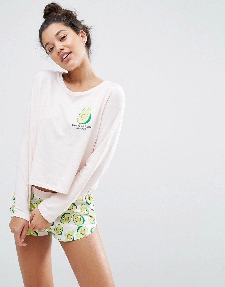 Avocado Long Sleeve Tee   Short Set  e831a9dd3