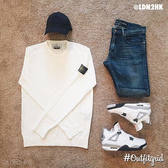 Today's top #outfitgrid is by @ldn2hk. ▫️#StoneIsland #Hat & #Crew ▫️#RalphLauren #BlackLabel #Denim ▫️#JordanIV #Cement