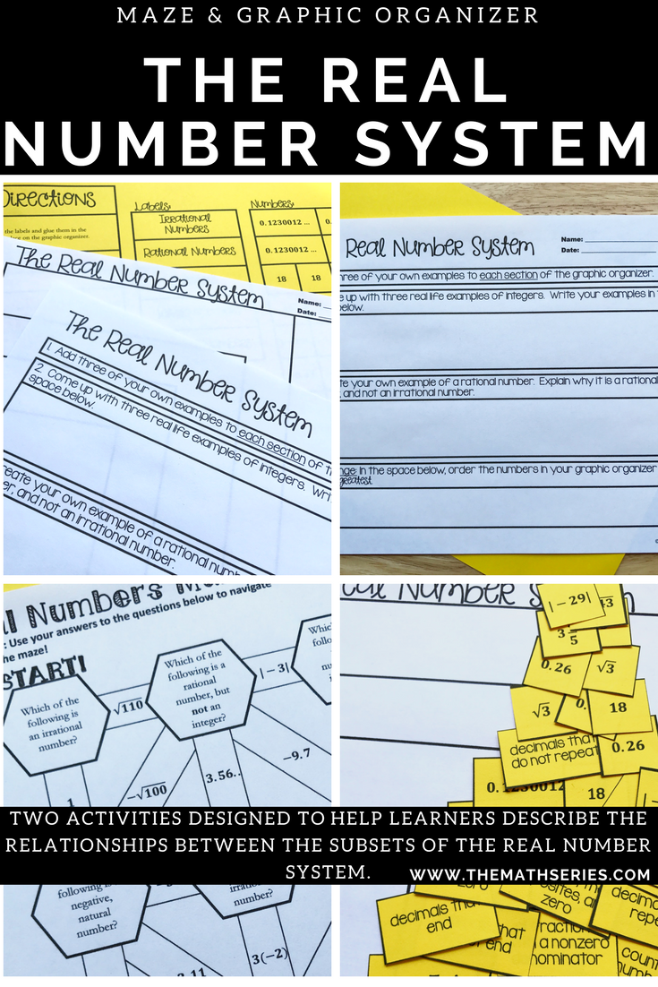 The Real Number System Maze & Graphic Organizer/Sort