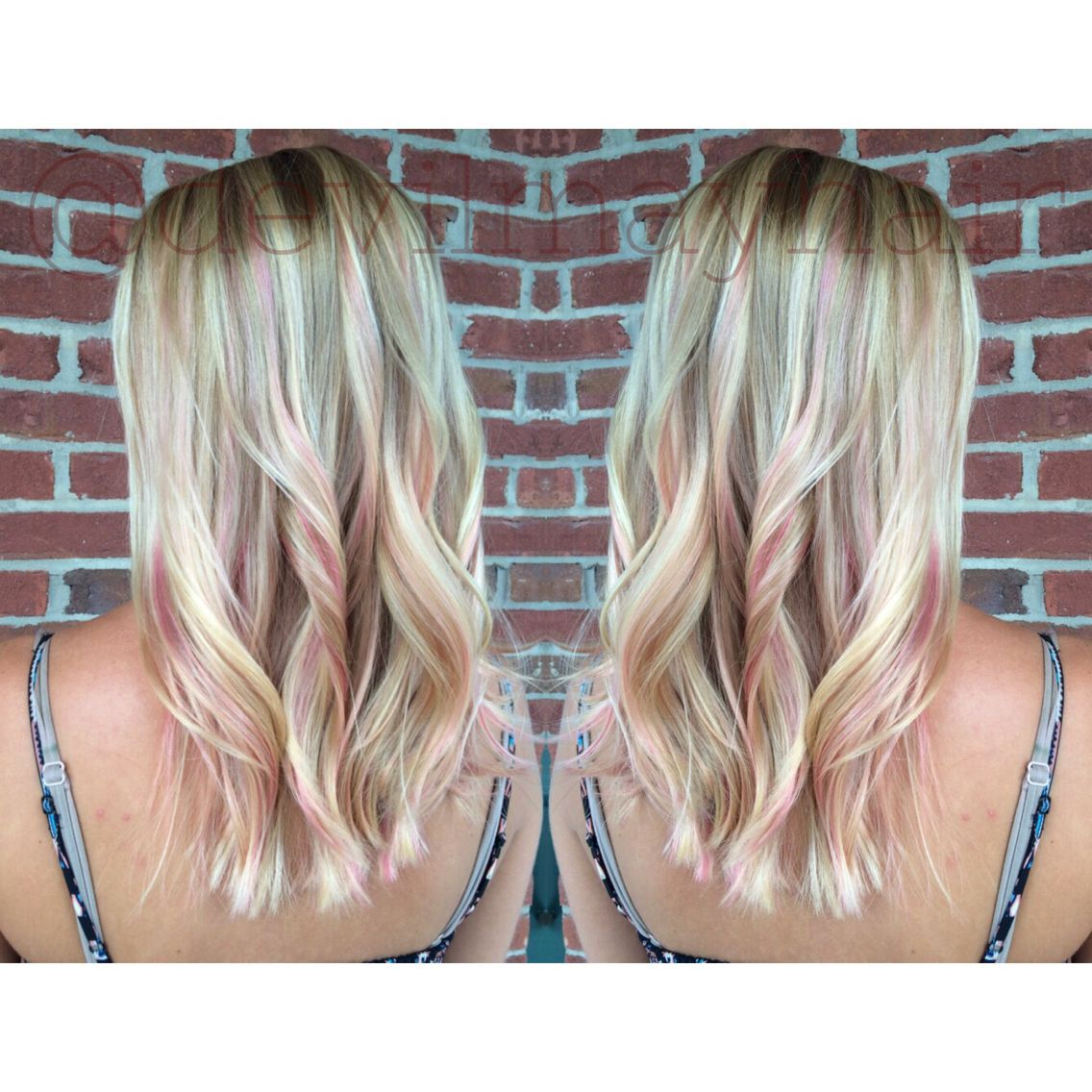 Soft Pink Peekaboo Highlights On This Pretty Blonde With Images