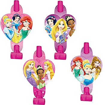 Our Disney Princess Blowouts show off several of the lovely Disney princesses on a heart shaped cut out. These paper and plastic blowouts measure 5 inches long.