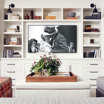 Built In Media Center Transitional Living Room Domaine Home