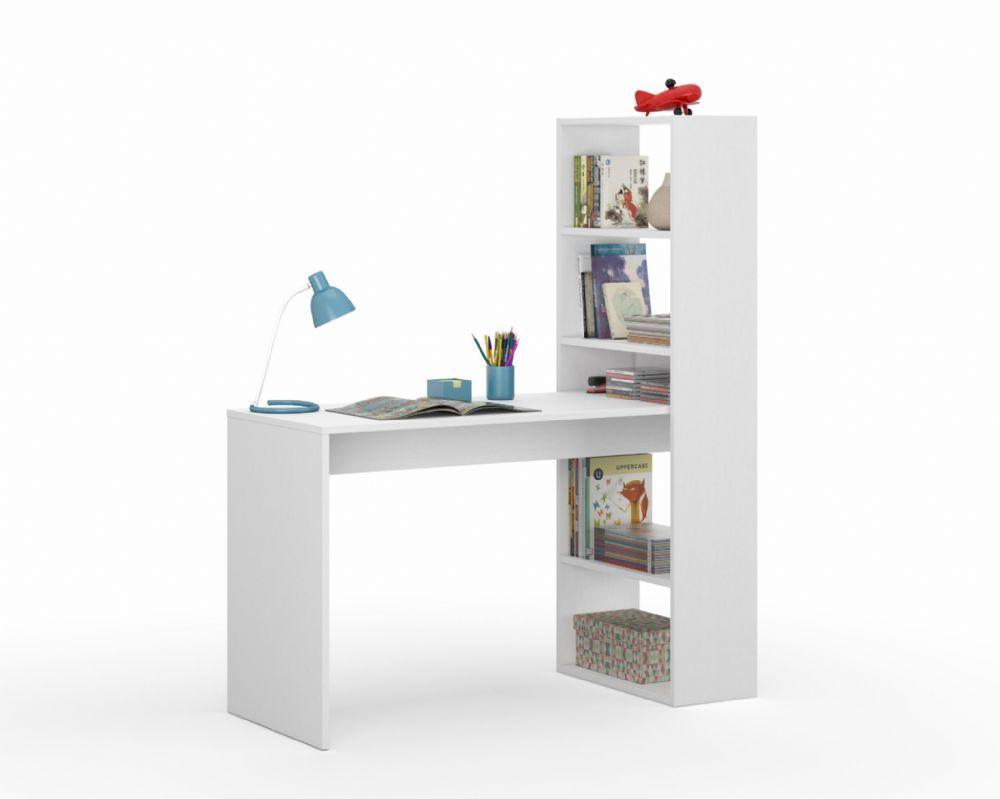 Amalfi White Combo Computer Desk Table With Bookshelf 2564 White