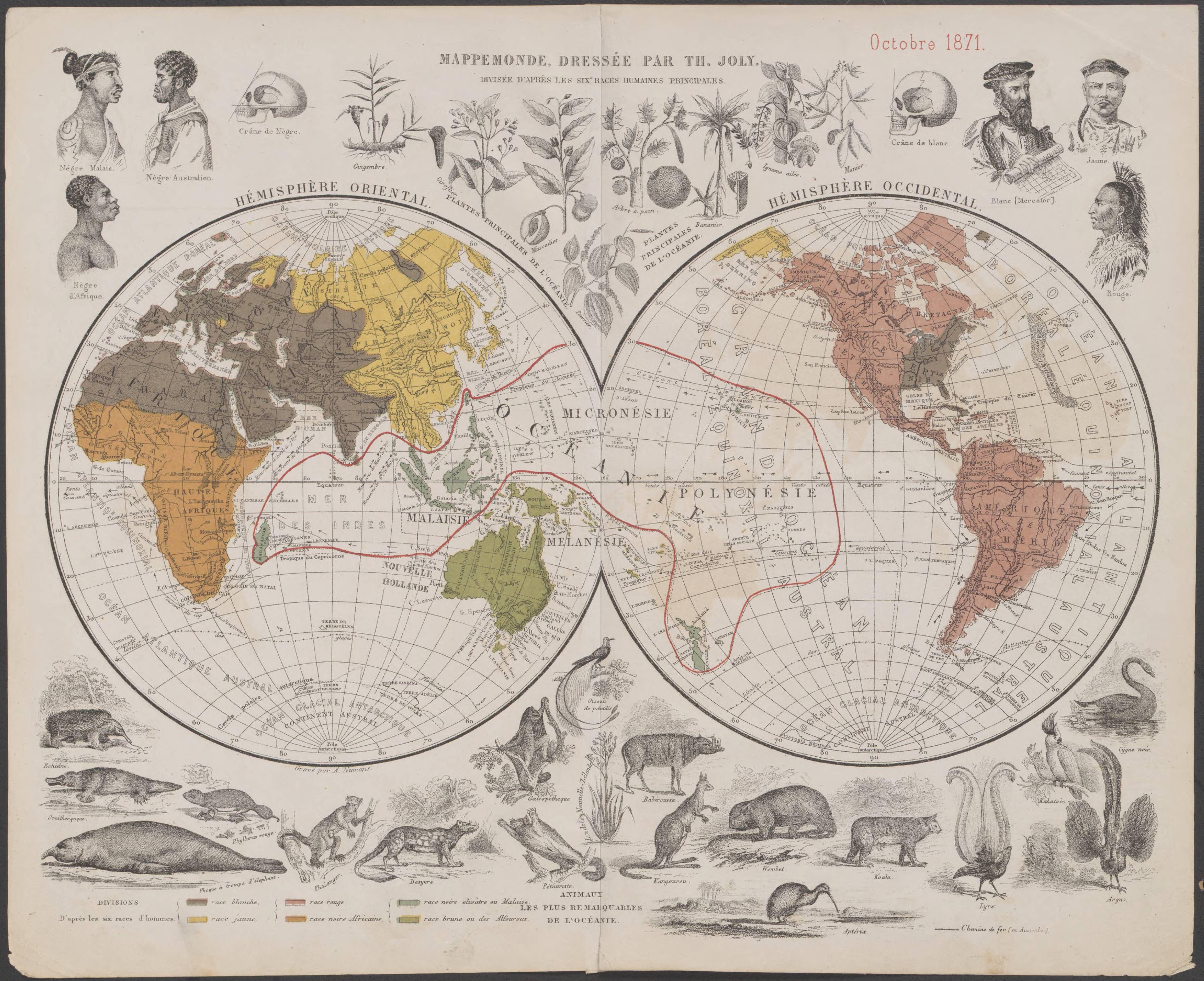 Double hemispherical 1871 world map centred on oceania showing the double hemispherical 1871 world map centred on oceania showing the six human races publicscrutiny Choice Image