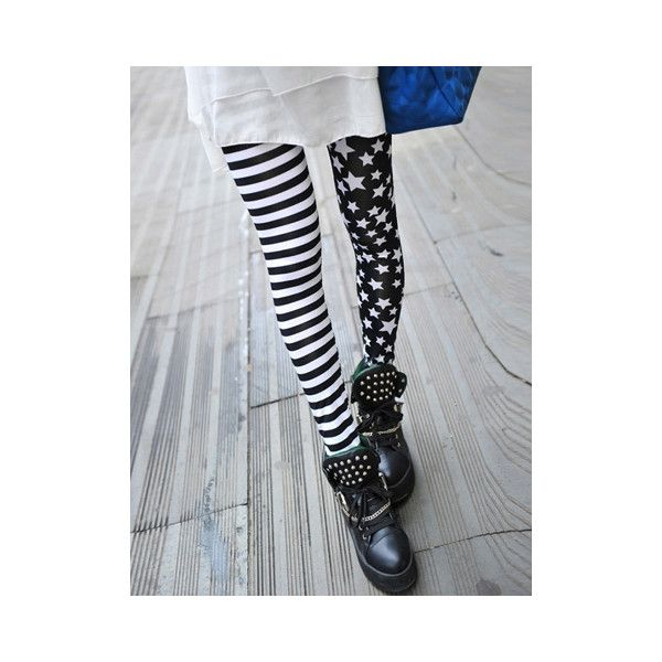 Stripe Star Print Slimming High Elasticity Women s Leggings ($6.42) ❤ liked on Polyvore featuring pants, leggings, black, slim trousers, slimming leggings, striped trousers, slim fit pants and star leggings