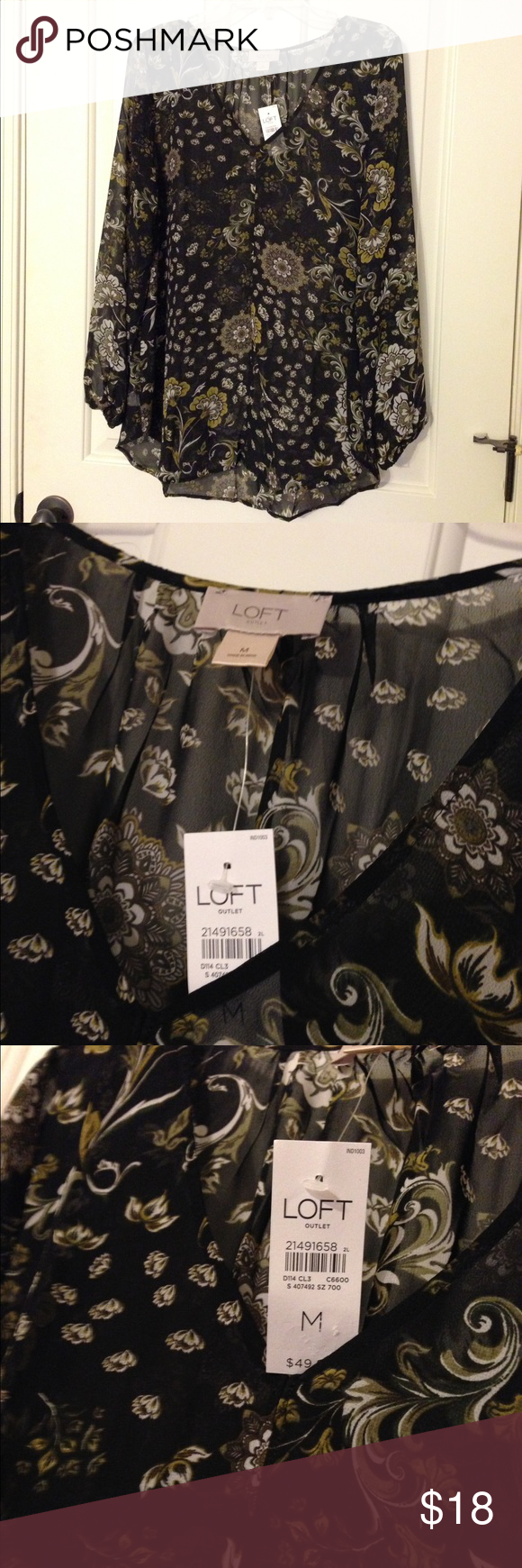 NWT medium LOFT sheer black floral shirt top NEW with tags! Black Ann Taylor Loft shirt with floral design. Sheer. Smoke and pet free. LOFT Tops Blouses