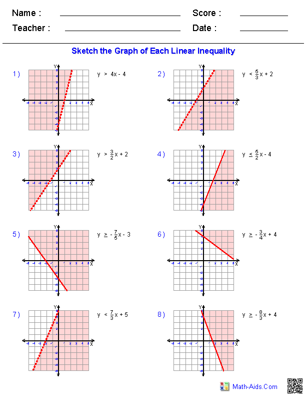 Graphing_Inequalities Worksheets | Math-Aids.Com ...