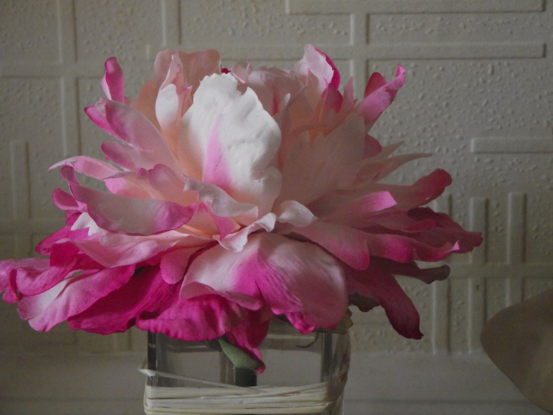 Luxury silk flower arrangement pink peony bloom in a heavy top luxury silk flower arrangement pink peony bloom in a heavy top quality cube glass vase reviewsmspy