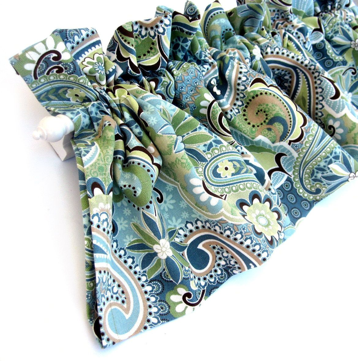 FOREST GLEN Valance Curtains Blue Green Teal Brown Tan Paisley ...
