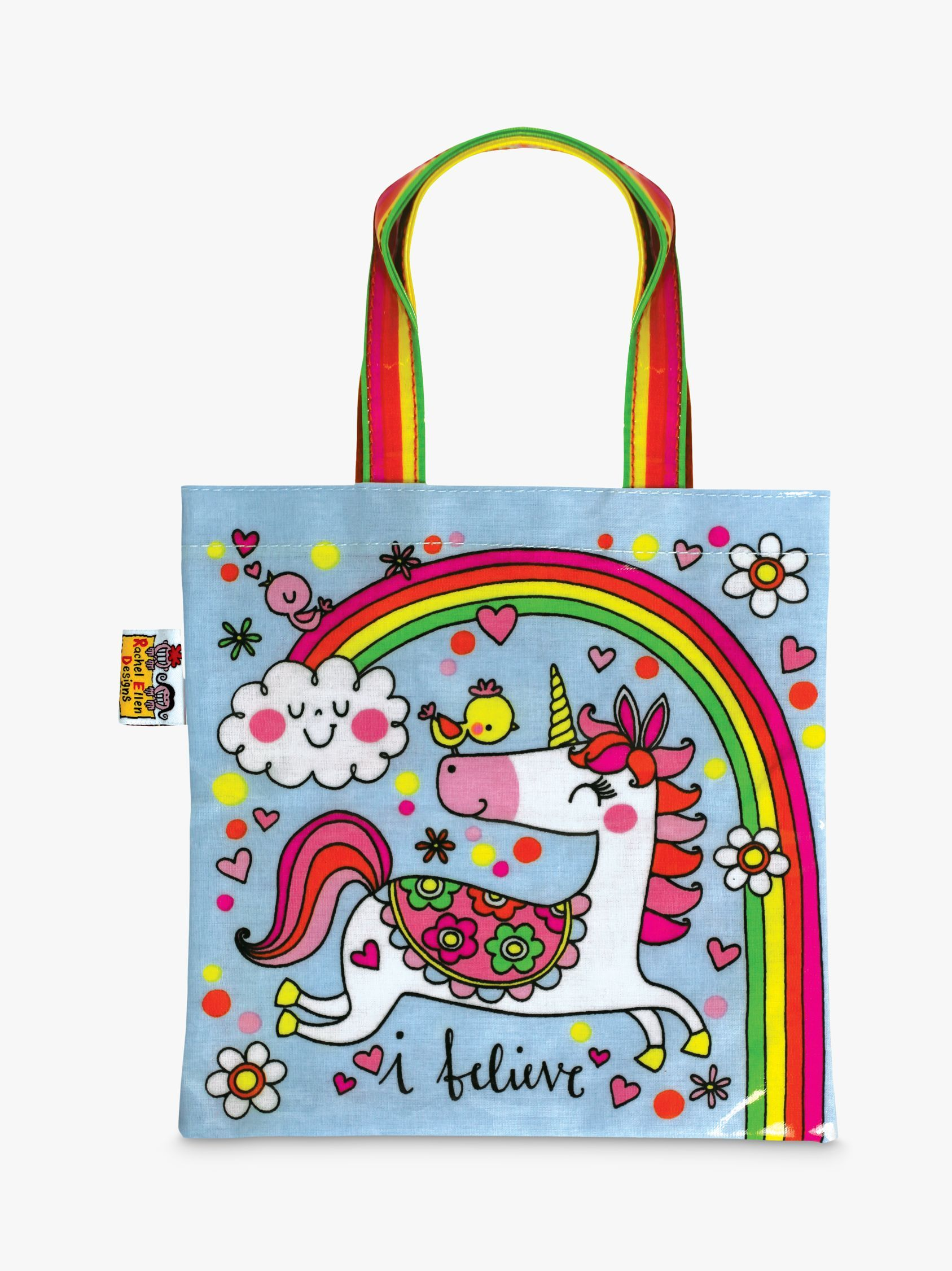Unicorn and Rainbows Mini Tote Bag by Rachel Ellen Cute Birthday Gift for Girls