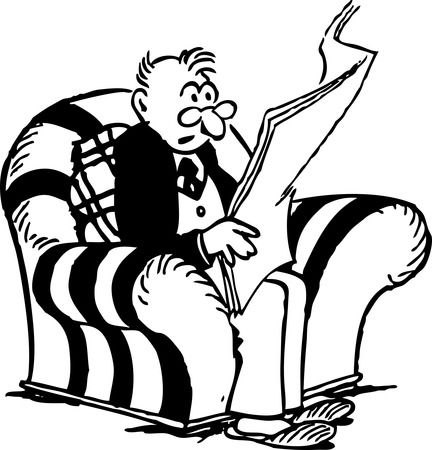 Free Retro Clipart Of A Man Reading Interesting News From A