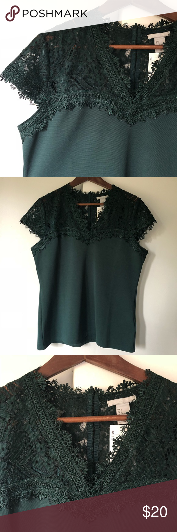 H&m green lace dress  HuM dark green Lacey top sz L NWT Gorgeous NWT  Pinterest