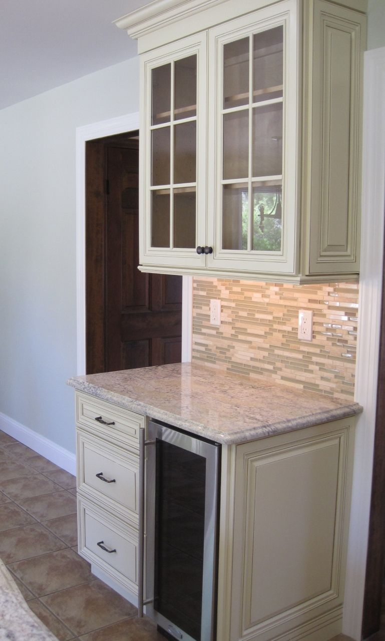 Ivory Kitchen Cabinets Beverage Center Marvel 15 Cooler Bianco Romano Granite Countertop For Coffee Espresso Machines