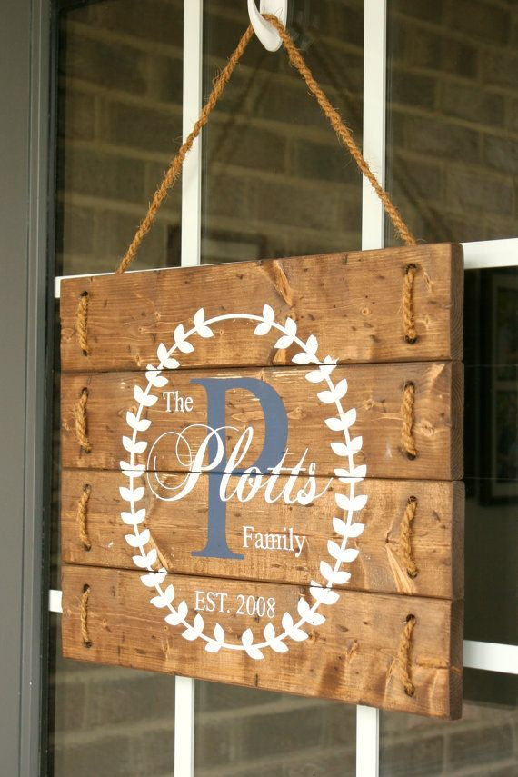 Rustic Wood Established Monogrammed Rope Sign by