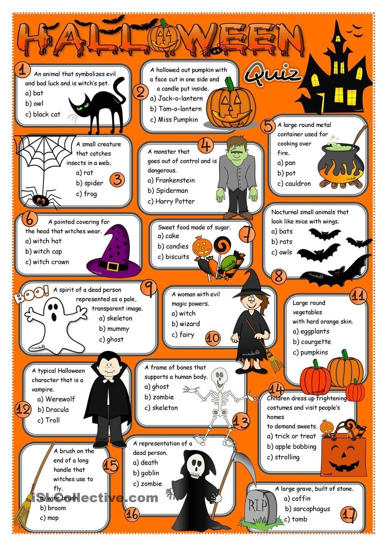 Halloween quiz Halloween, Do wydrukowania, Edukacja