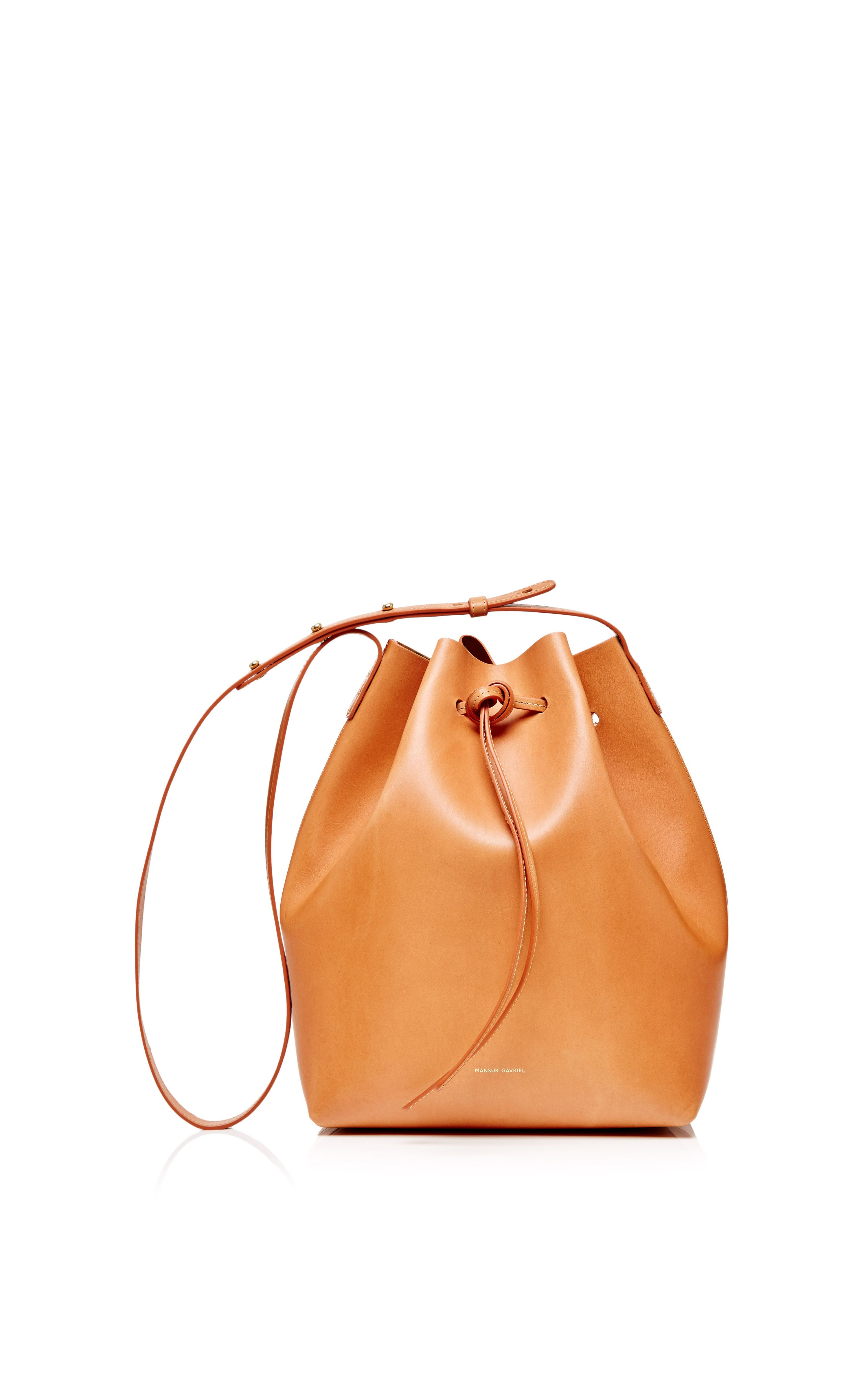 Coated Leather Bucket Bag In Camello With Gold Interior By Mansur Gavriel For Preorder On Moda Operandi