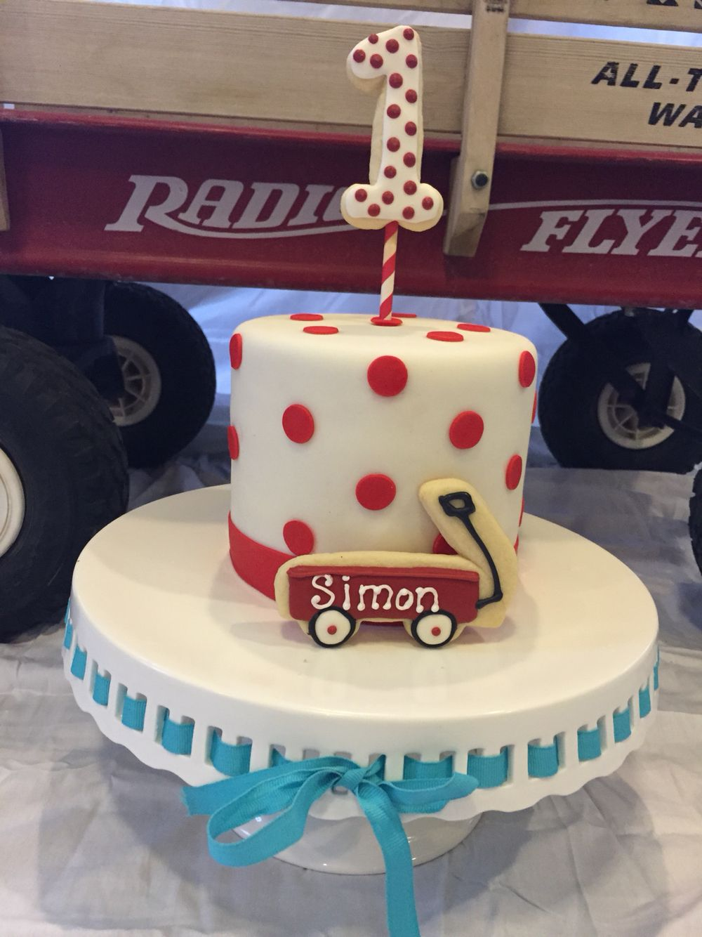 Little red wagon first birthday cake Baby first birthday