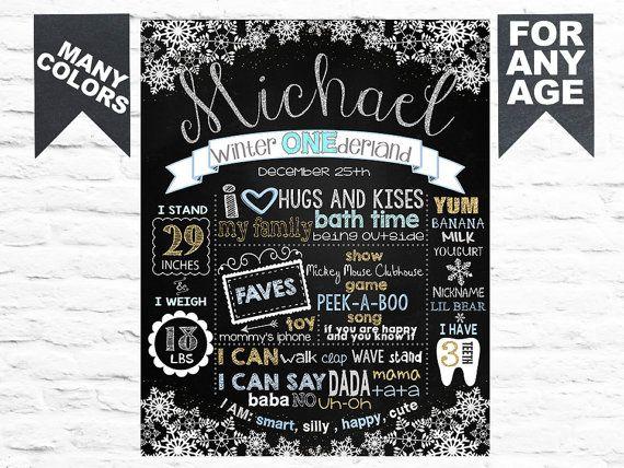 Milestone Chalkboard Winter Onederland Birthday Chalkboard Snowflake 1st Birthday Chalkboard Wonderland Any Age Birthday Chalkboard