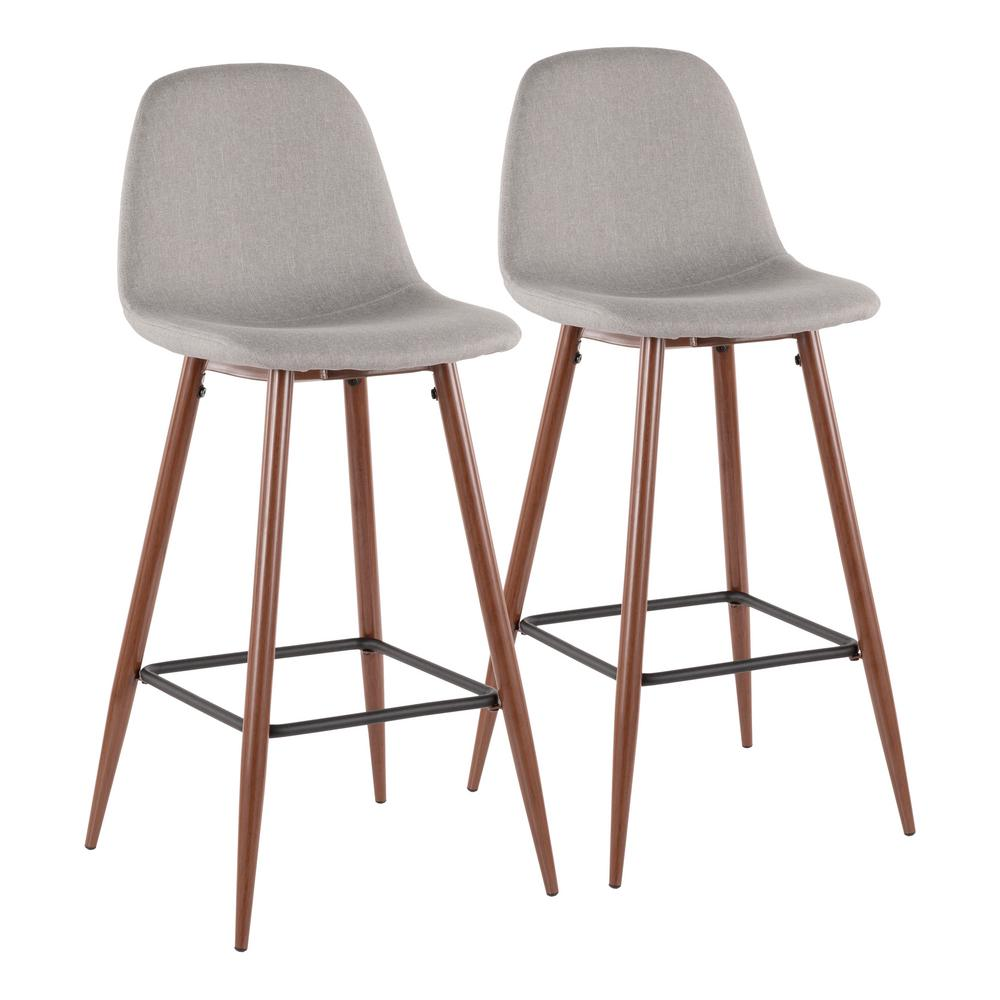 Lumisource Pebble 29 In Walnut Metal And Light Grey Fabric Barstool Set Of 2 Bs Peb Wl Lgy2 Upholstered Bar Stools Mid Century Bar Stools Modern Bar Stools