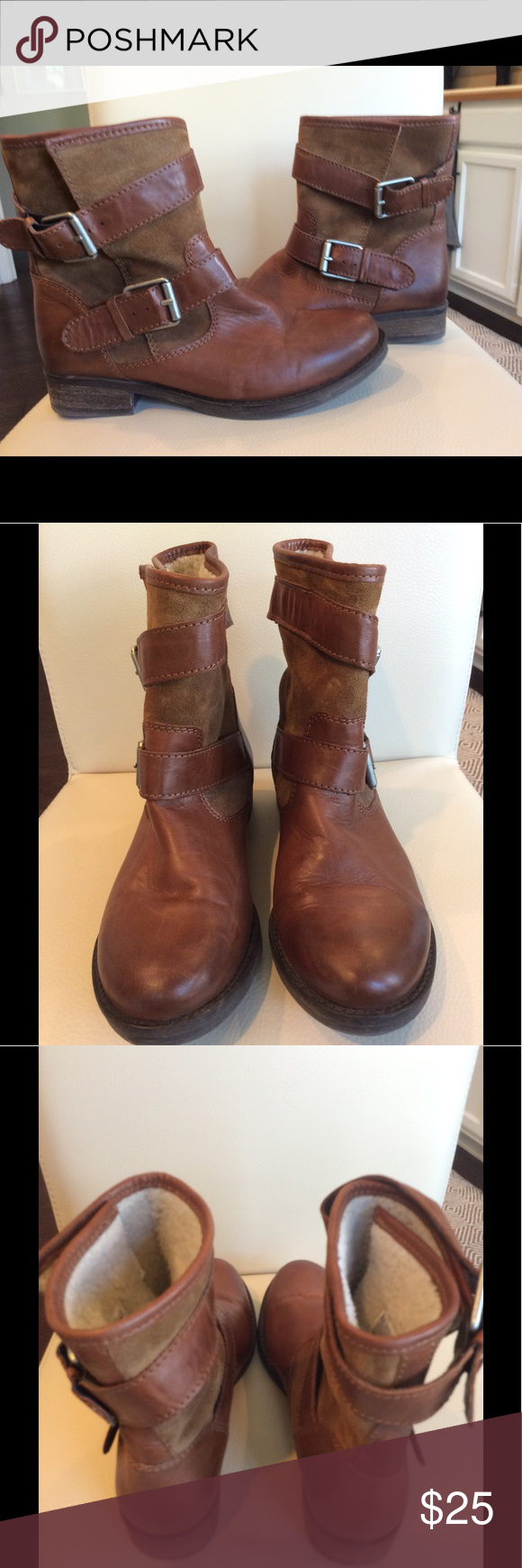 Aldo Abasa Motorcycle Boot Great pair of preowned Women s Aldo  Leather suede faux fur lined 87ebc4915