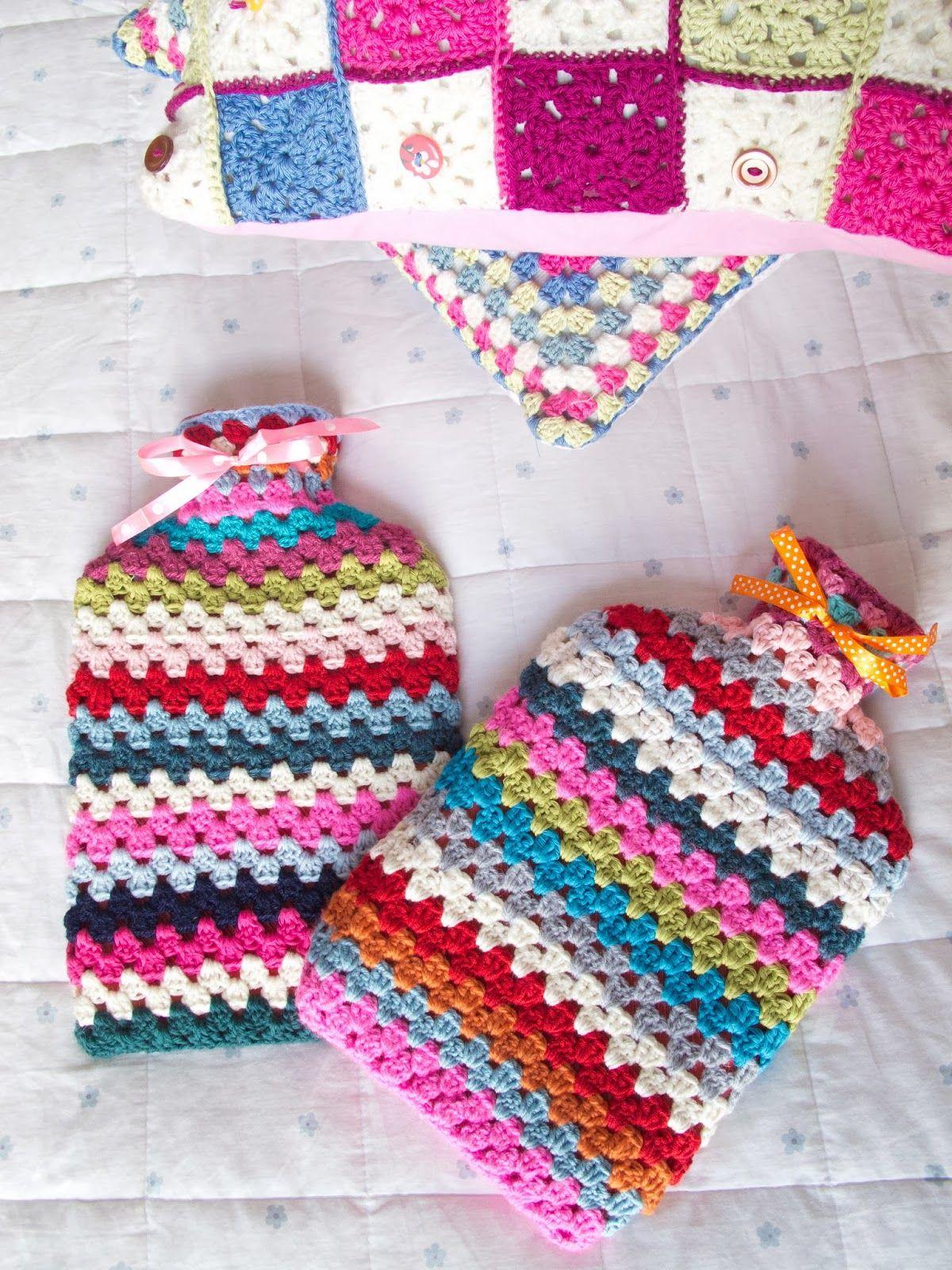 free pattern, crochet hot water bottle cosy, crochet, granny stripe ...