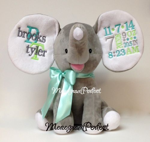 Retiring Design Personalized Gray Birth Announcement Elephant – Personalized Birth Announcement