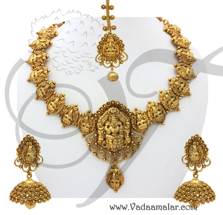 Goddess Lakshmi Necklace and Jhumki httpwwwvadaamalarcom