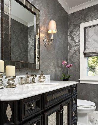 Best 11 Bold Wallpaper Looks Powder Room Design Bathroom 640 x 480