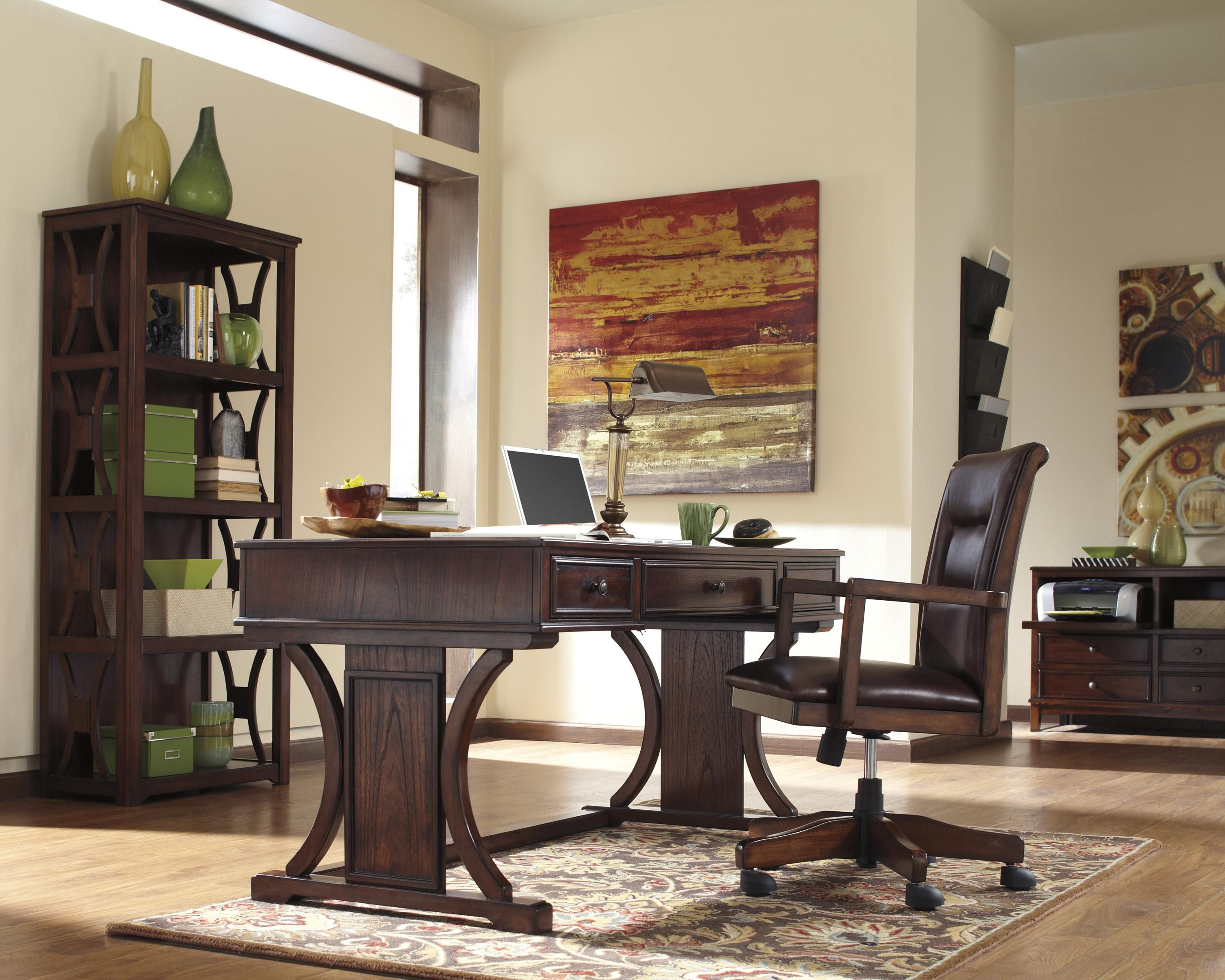 Signature Design By Ashley Devrik Home Office Desk With Drop Down Keyboard  Tray   Pilgrim Furniture