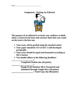 Personal Narrative Essay About Your Life Writing An Editorial Essay  This File Contains An Introduction  Rubric And Outlines For An Editorial Essay Writing Asssignment My Career Goals Essay also Essays On Procrastination Writing An Editorial Essay Assignment Packet  Many Free Products  My Sister Essay