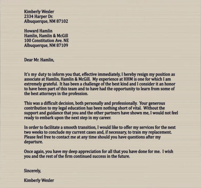 A Good Example For A Letter Of Resignation You Will Have To Write